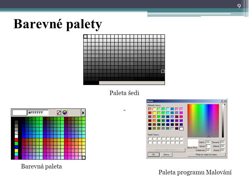 Barevné palety Paleta šedi Barevná paleta Paleta programu Malování
