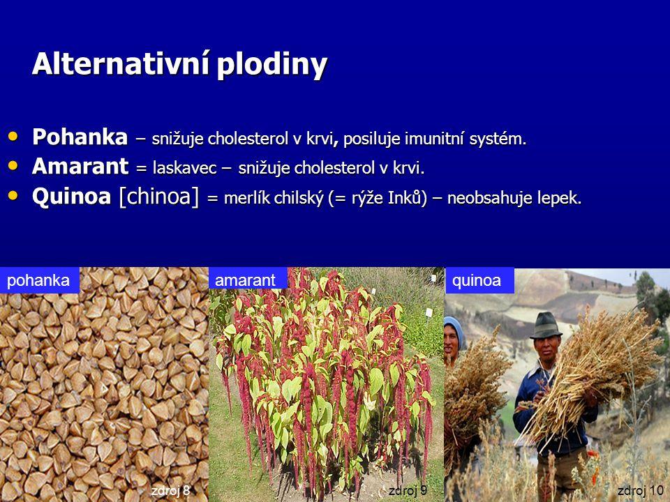 Alternativní plodiny Pohanka – snižuje cholesterol v krvi, posiluje imunitní systém. Amarant = laskavec – snižuje cholesterol v krvi.