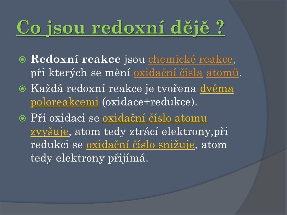 Co jsou redoxní dějě Redoxní reakce jsou chemické reakce, při kterých se mění oxidační čísla atomů.