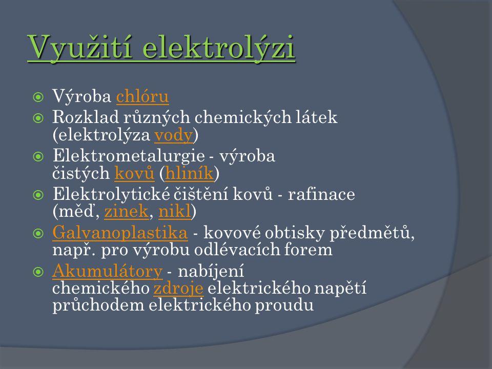 Využití elektrolýzi Výroba chlóru