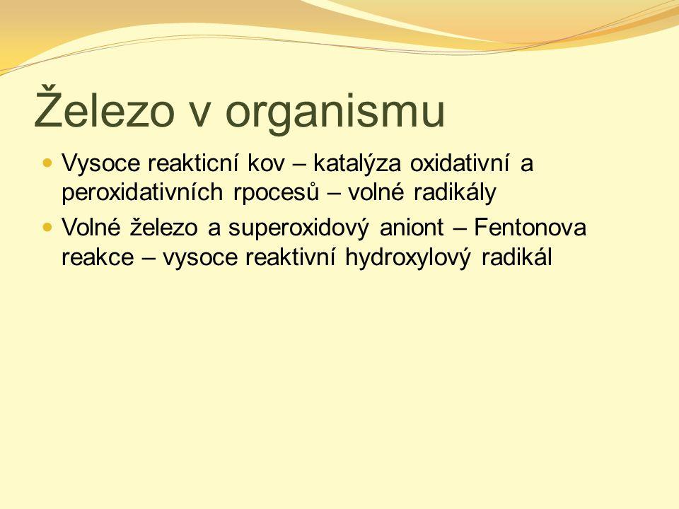 Železo v organismu Vysoce reakticní kov – katalýza oxidativní a peroxidativních rpocesů – volné radikály.