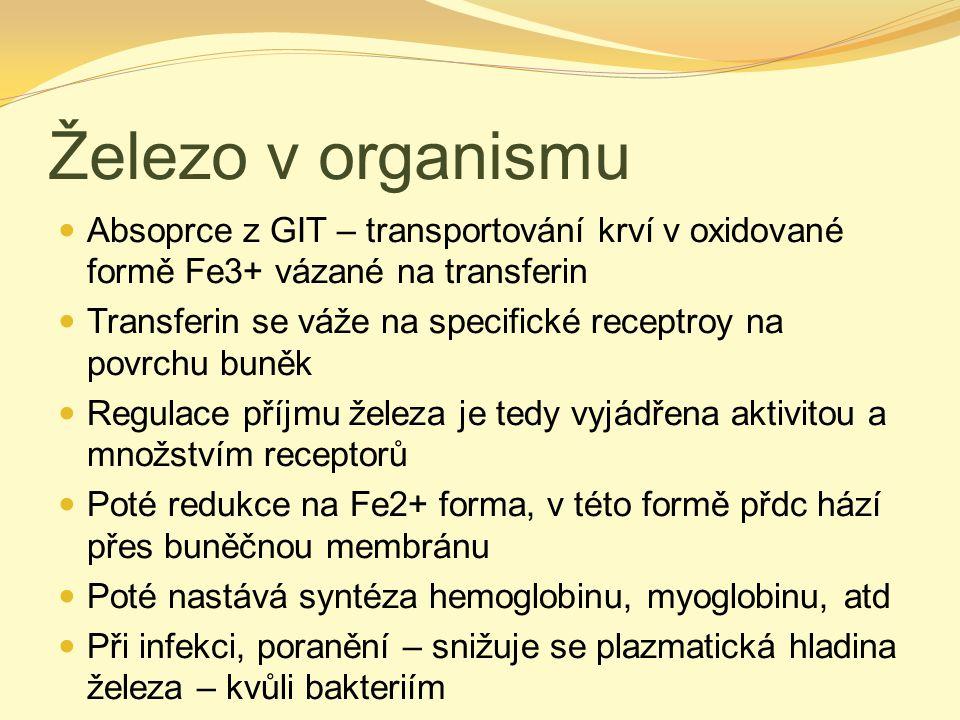 Železo v organismu Absoprce z GIT – transportování krví v oxidované formě Fe3+ vázané na transferin.