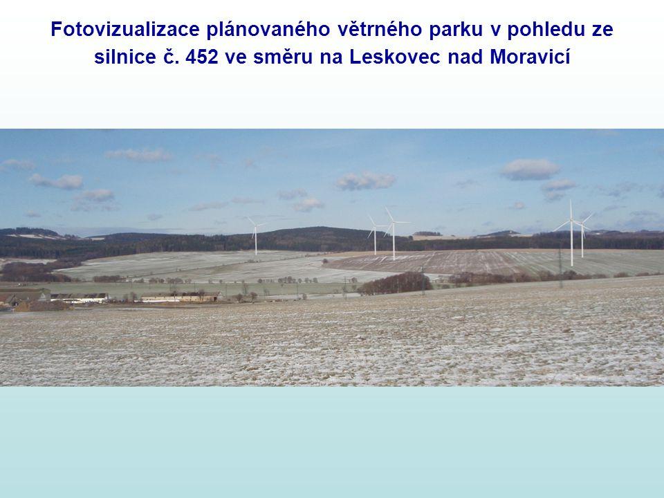 Fotovizualizace plánovaného větrného parku v pohledu ze silnice č
