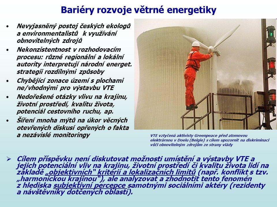 Bariéry rozvoje větrné energetiky