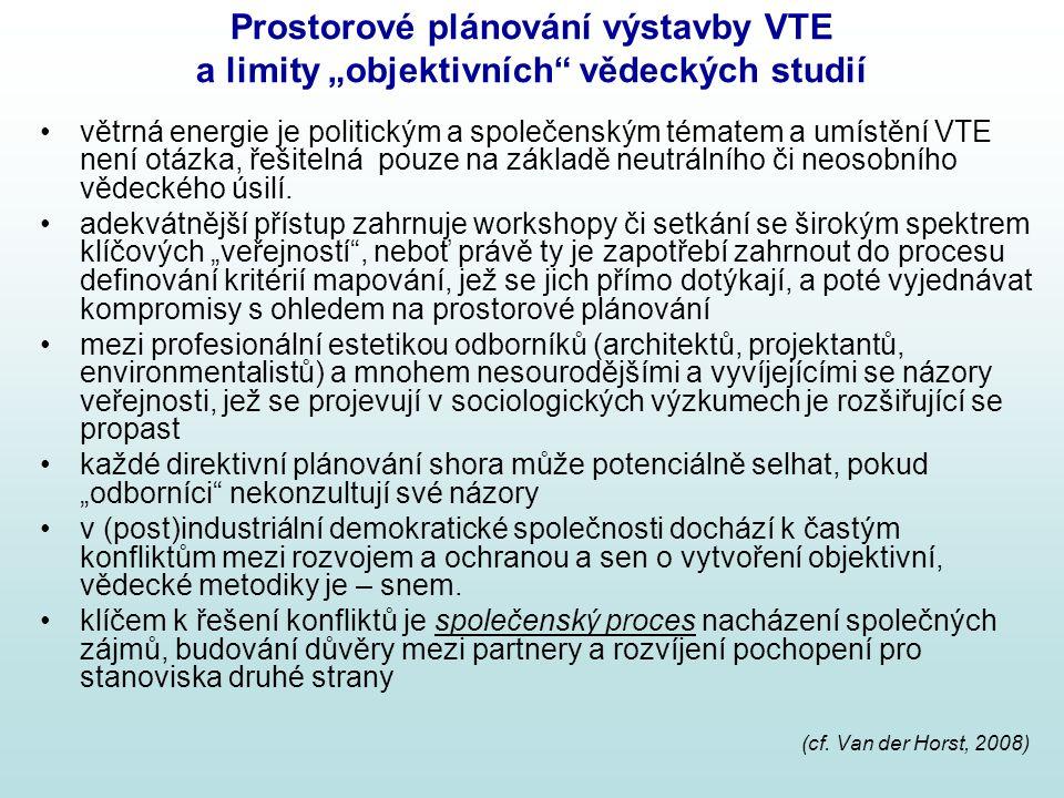 """Prostorové plánování výstavby VTE a limity """"objektivních vědeckých studií"""