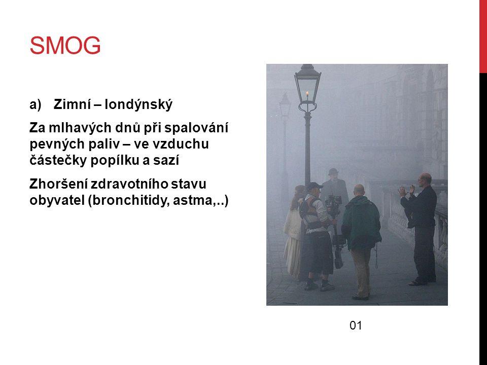 smog Zimní – londýnský. Za mlhavých dnů při spalování pevných paliv – ve vzduchu částečky popílku a sazí.