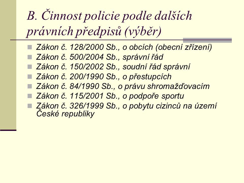 B. Činnost policie podle dalších právních předpisů (výběr)