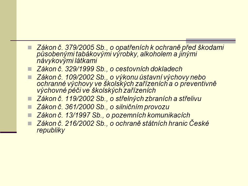 Zákon č. 379/2005 Sb., o opatřeních k ochraně před škodami působenými tabákovými výrobky, alkoholem a jinými návykovými látkami
