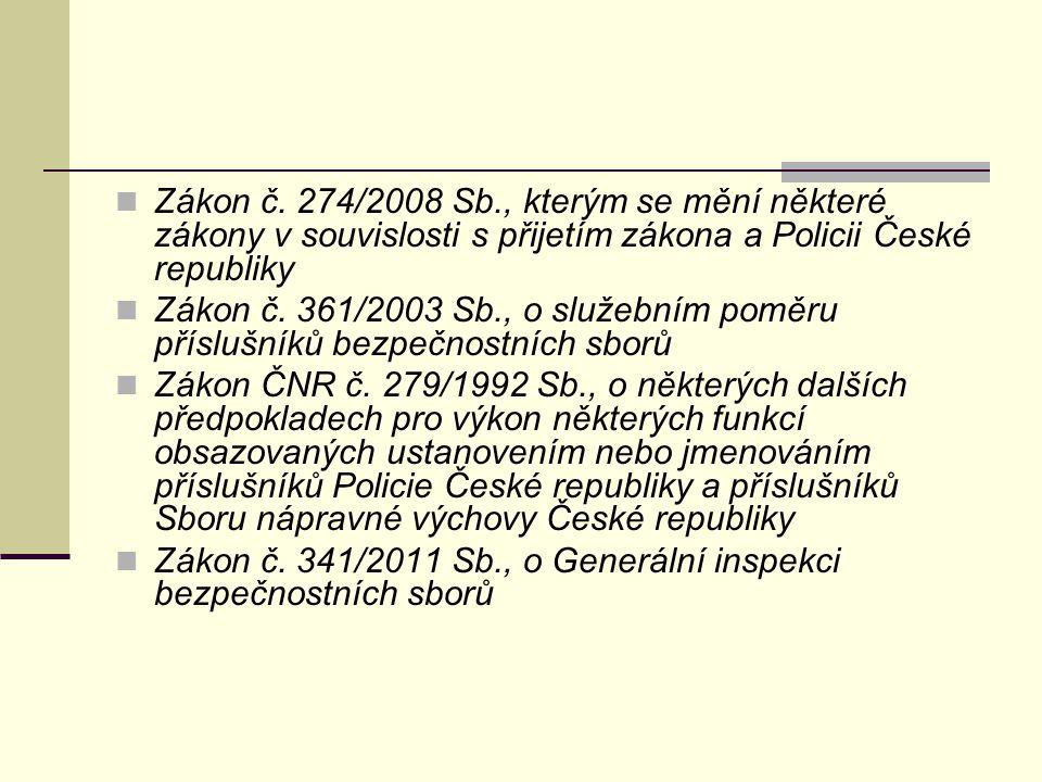Zákon č. 274/2008 Sb., kterým se mění některé zákony v souvislosti s přijetím zákona a Policii České republiky