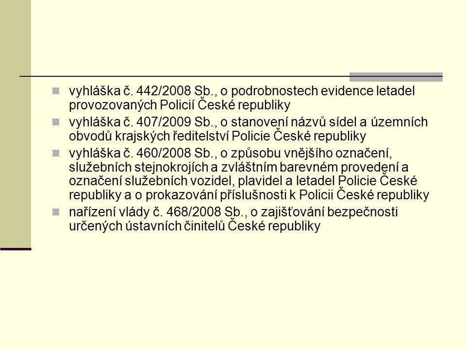 vyhláška č. 442/2008 Sb., o podrobnostech evidence letadel provozovaných Policií České republiky
