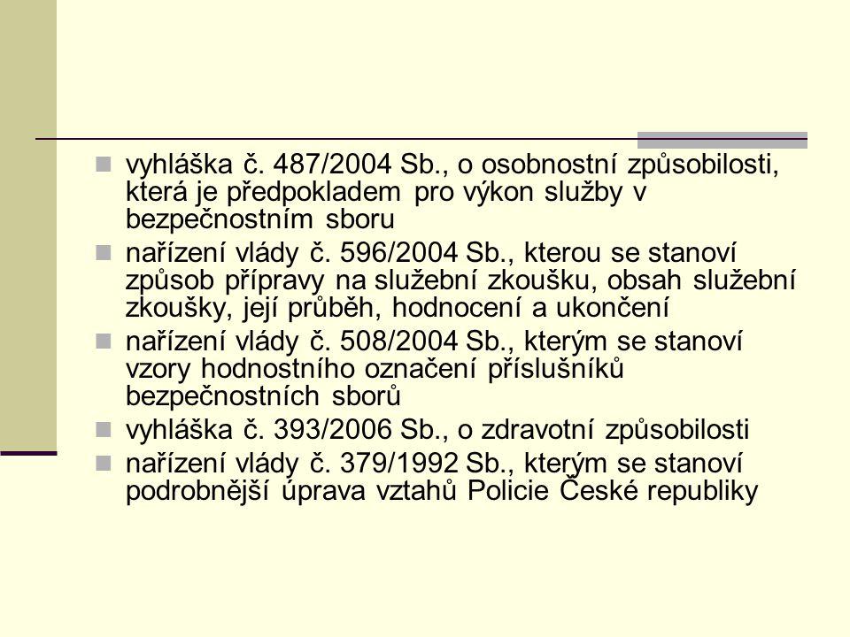 vyhláška č. 487/2004 Sb., o osobnostní způsobilosti, která je předpokladem pro výkon služby v bezpečnostním sboru