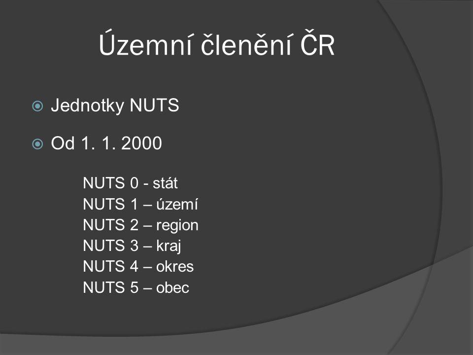 Územní členění ČR Jednotky NUTS Od 1. 1. 2000 NUTS 0 - stát