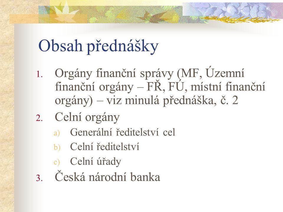 Obsah přednášky Orgány finanční správy (MF, Územní finanční orgány – FŘ, FÚ, místní finanční orgány) – viz minulá přednáška, č. 2.