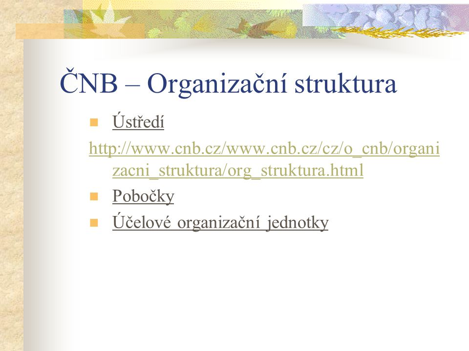 ČNB – Organizační struktura