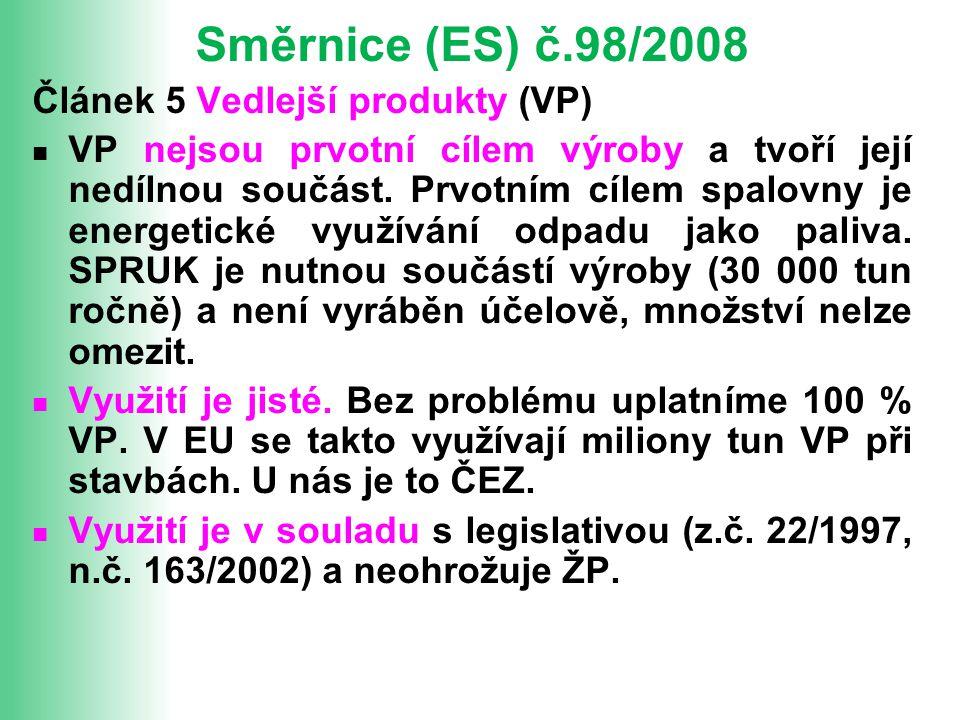 Směrnice (ES) č.98/2008 Článek 5 Vedlejší produkty (VP)