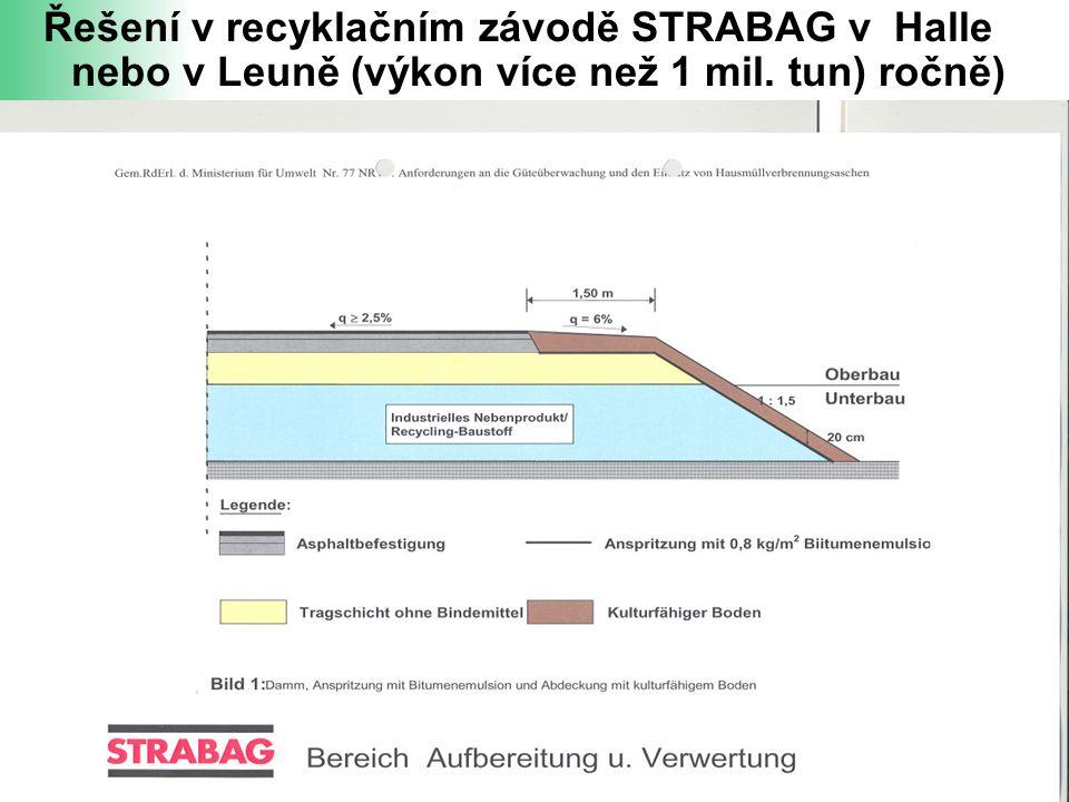 Řešení v recyklačním závodě STRABAG v Halle nebo v Leuně (výkon více než 1 mil. tun) ročně)