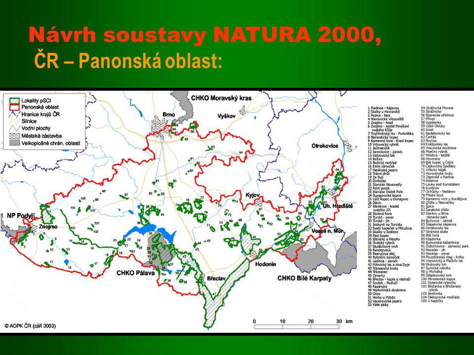 Návrh soustavy NATURA 2000, ČR – Panonská oblast: