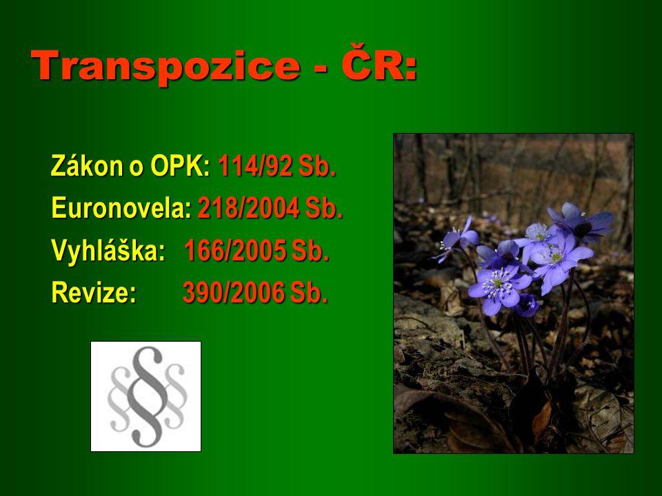 Transpozice - ČR: Zákon o OPK: 114/92 Sb. Euronovela: 218/2004 Sb.