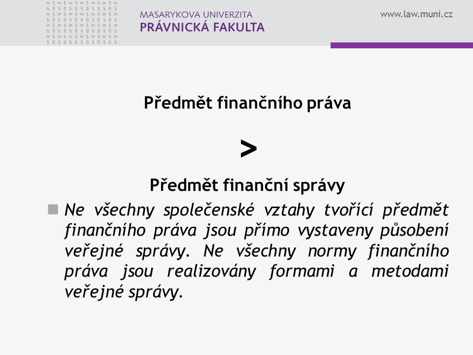 Předmět finančního práva Předmět finanční správy