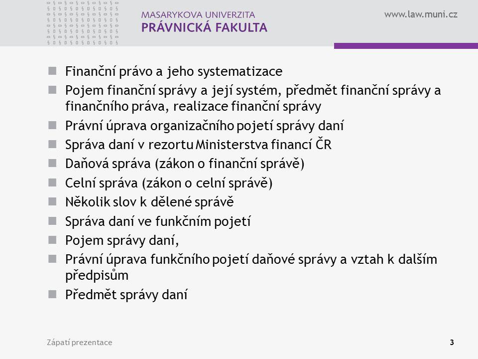 Finanční právo a jeho systematizace