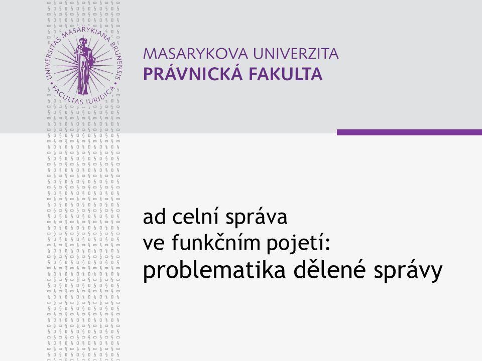 ad celní správa ve funkčním pojetí: problematika dělené správy