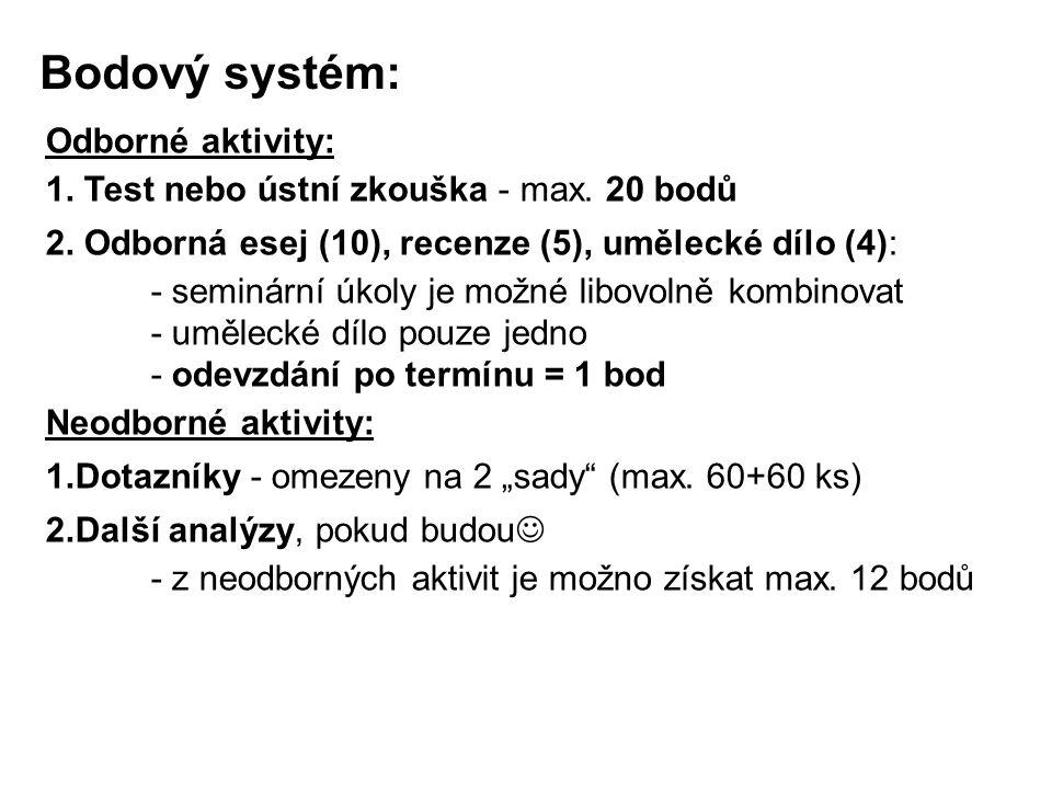 Bodový systém: Odborné aktivity: