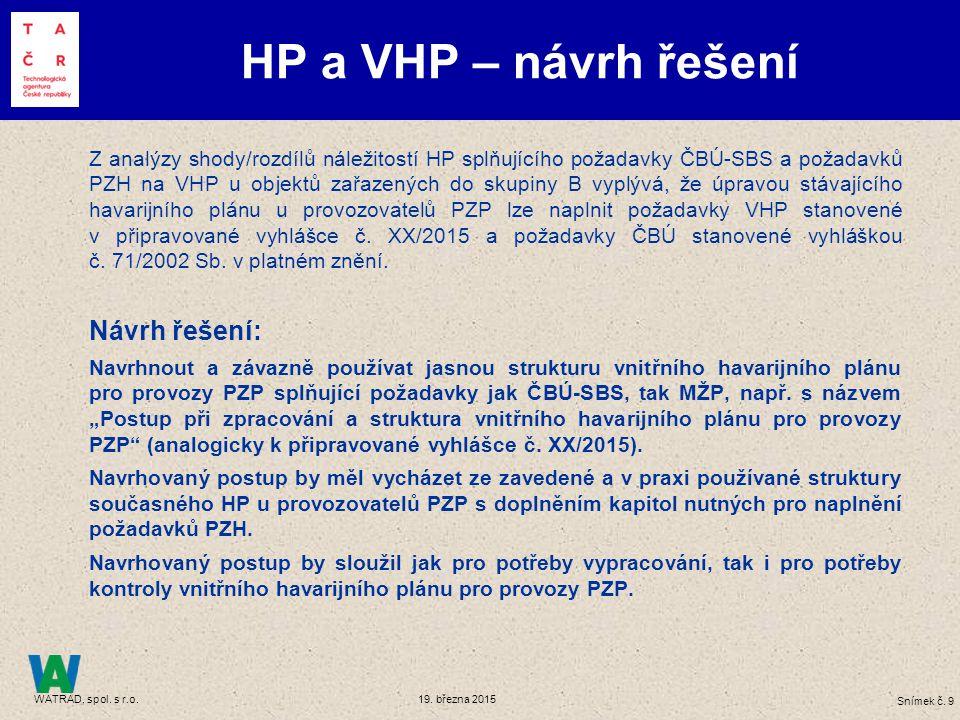 Shrnutí Zařazování PZP HP a VHP
