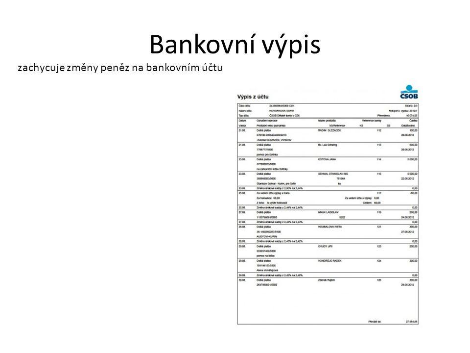 Bankovní výpis zachycuje změny peněz na bankovním účtu