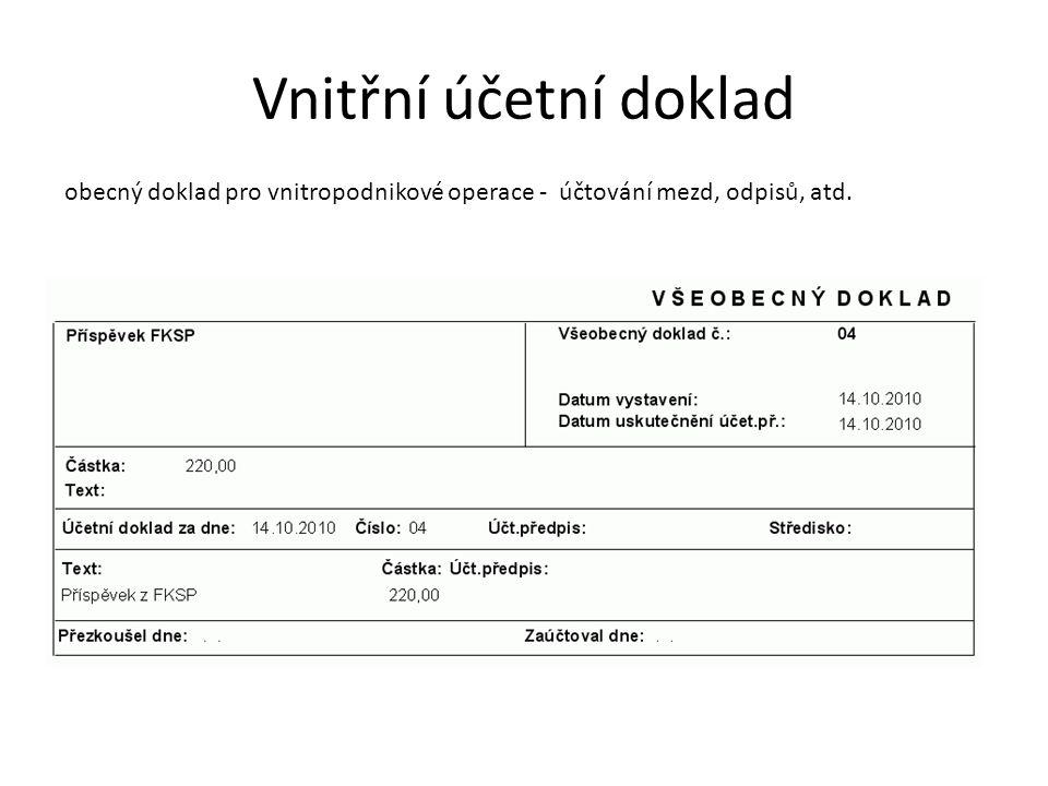 Vnitřní účetní doklad obecný doklad pro vnitropodnikové operace - účtování mezd, odpisů, atd.
