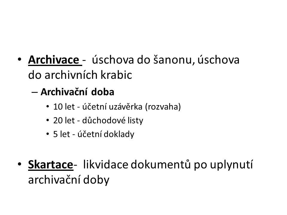 Archivace - úschova do šanonu, úschova do archivních krabic