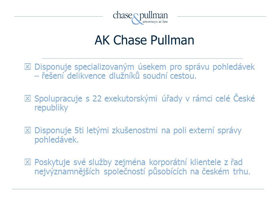 AK Chase Pullman Disponuje specializovaným úsekem pro správu pohledávek – řešení delikvence dlužníků soudní cestou.