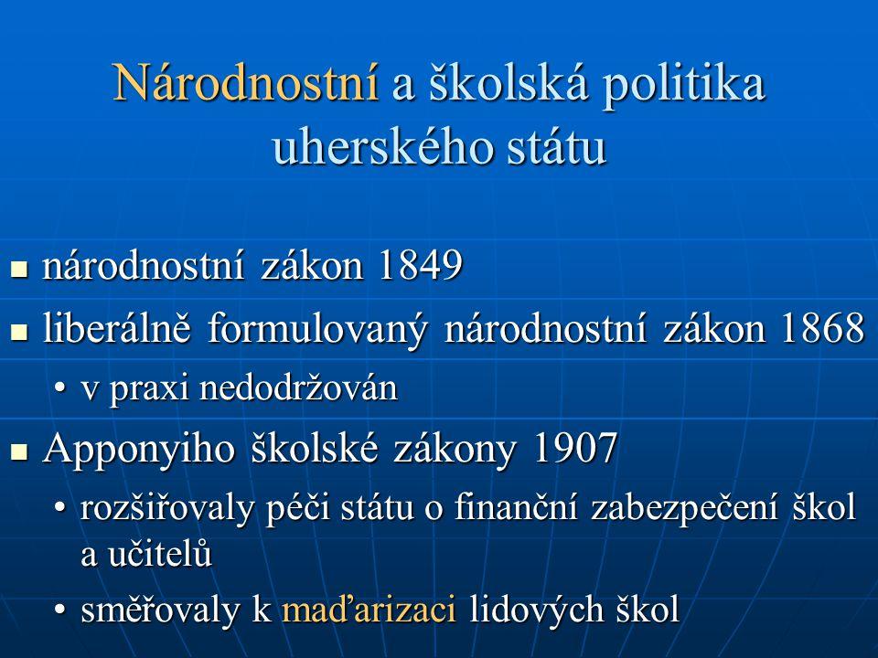 Národnostní a školská politika uherského státu