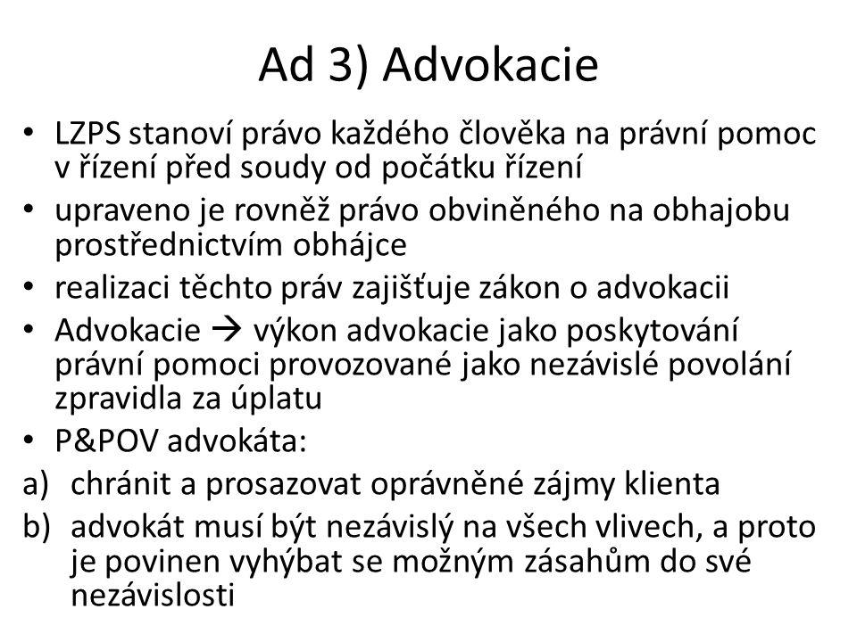 Ad 3) Advokacie LZPS stanoví právo každého člověka na právní pomoc v řízení před soudy od počátku řízení.