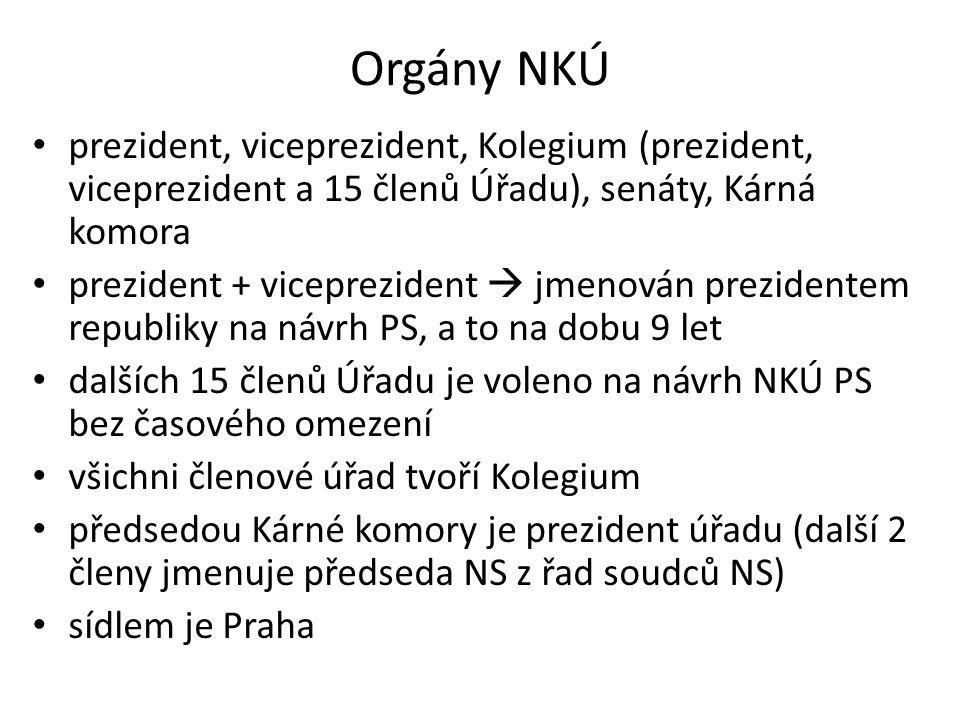 Orgány NKÚ prezident, viceprezident, Kolegium (prezident, viceprezident a 15 členů Úřadu), senáty, Kárná komora.