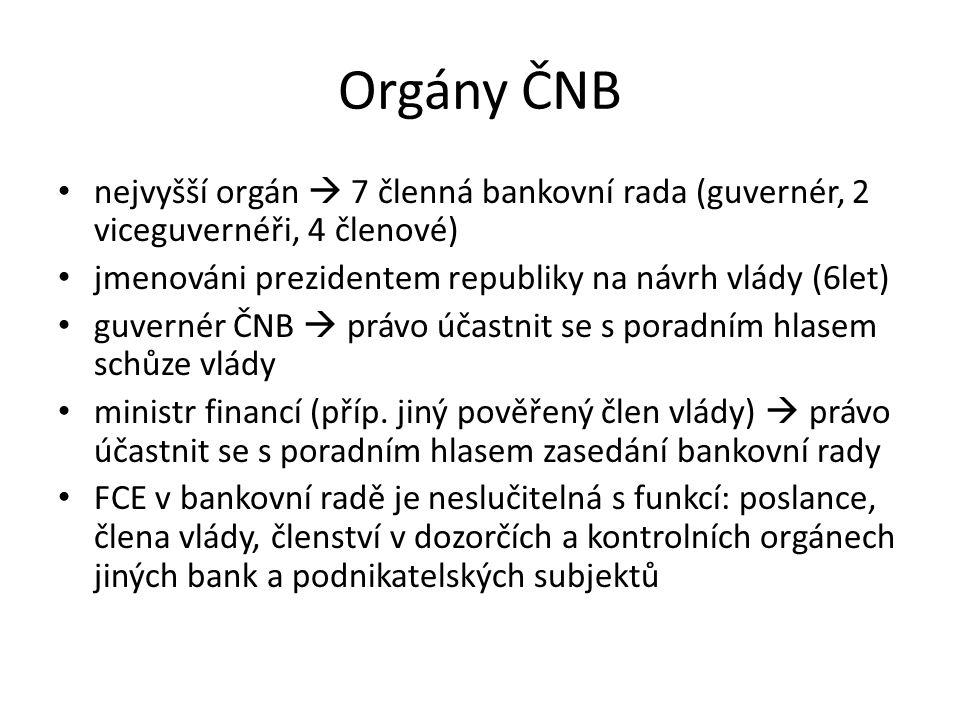 Orgány ČNB nejvyšší orgán  7 členná bankovní rada (guvernér, 2 viceguvernéři, 4 členové) jmenováni prezidentem republiky na návrh vlády (6let)