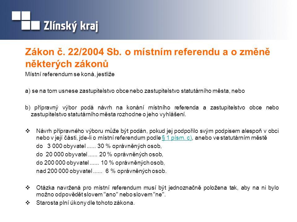 Zákon č. 22/2004 Sb. o místním referendu a o změně některých zákonů