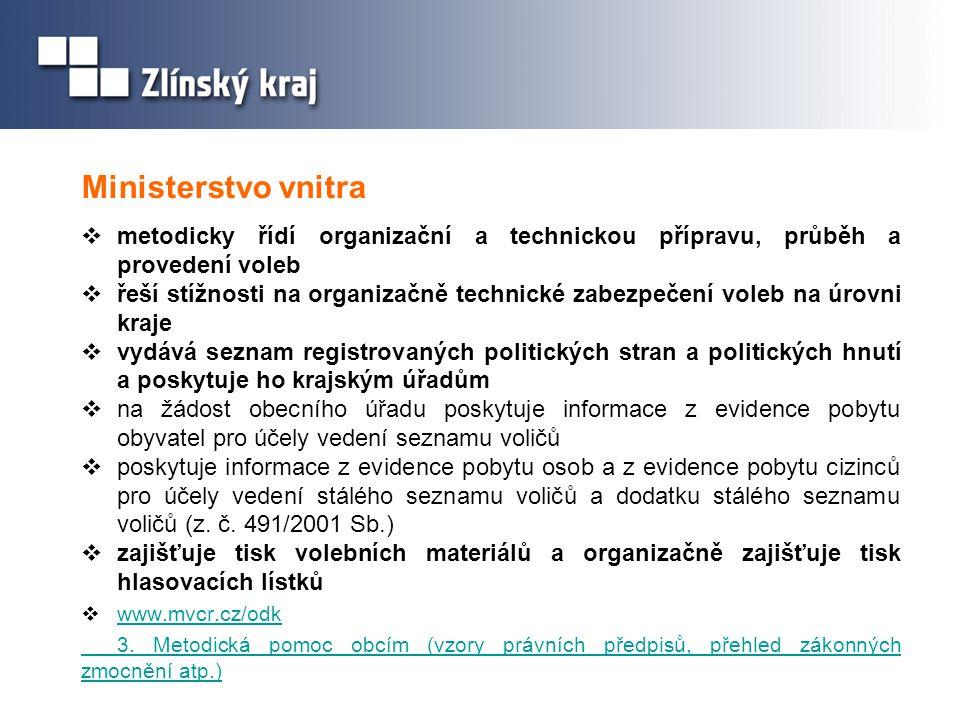 Ministerstvo vnitra metodicky řídí organizační a technickou přípravu, průběh a provedení voleb.