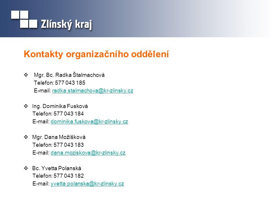 Kontakty organizačního oddělení