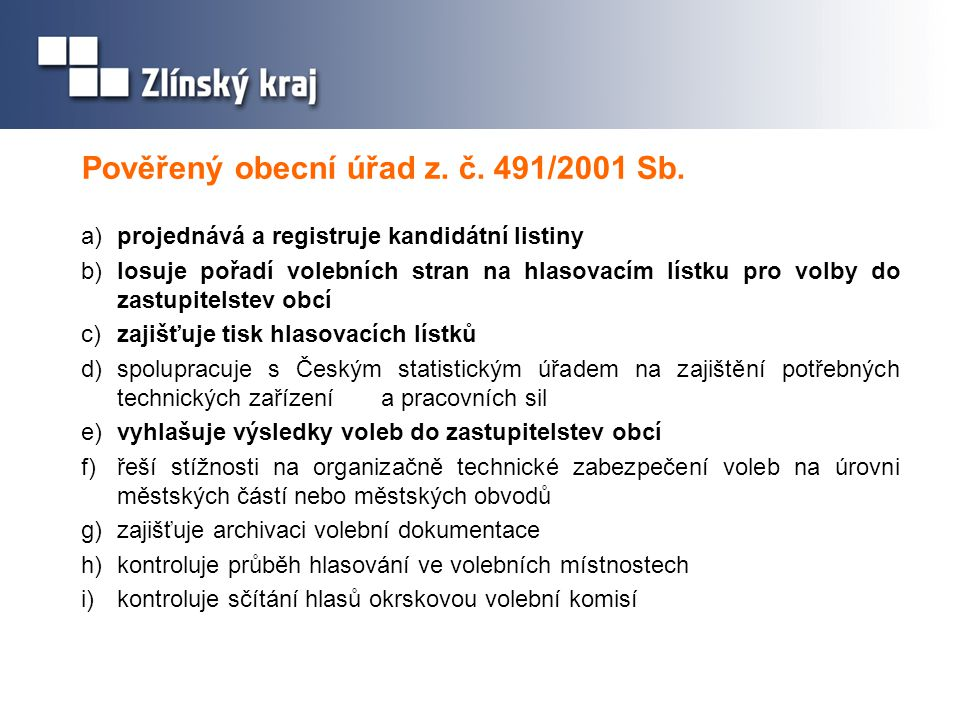 Pověřený obecní úřad z. č. 491/2001 Sb.