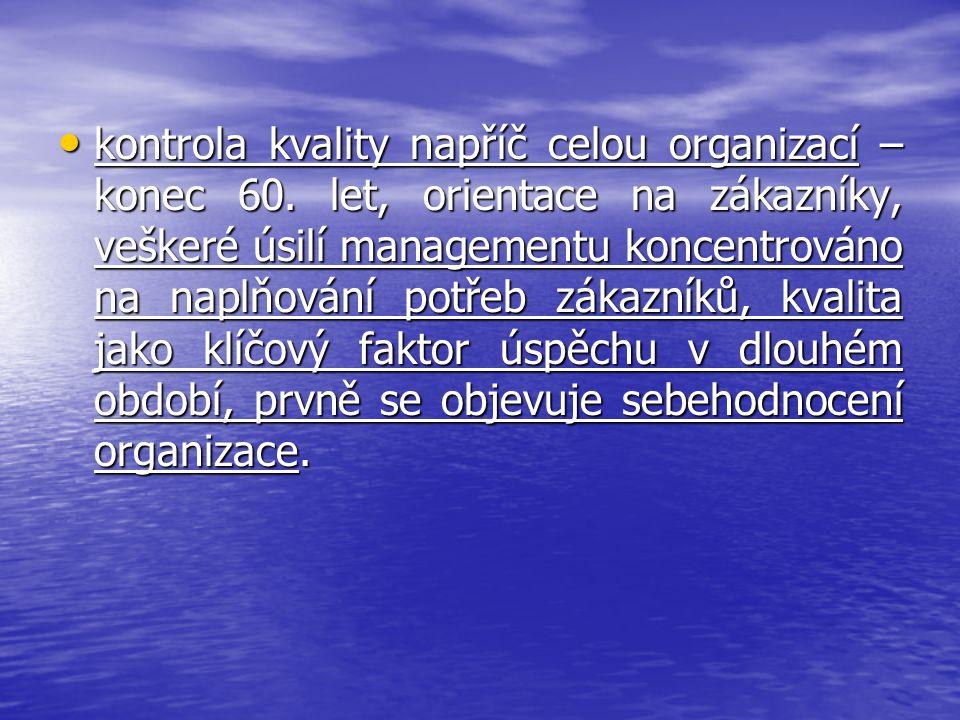 kontrola kvality napříč celou organizací – konec 60