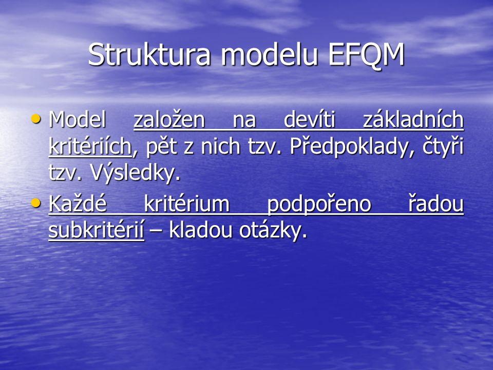 Struktura modelu EFQM Model založen na devíti základních kritériích, pět z nich tzv. Předpoklady, čtyři tzv. Výsledky.