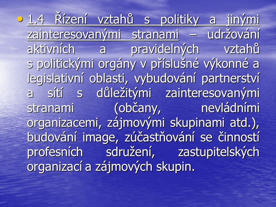 1.4 Řízení vztahů s politiky a jinými zainteresovanými stranami – udržování aktivních a pravidelných vztahů s politickými orgány v příslušné výkonné a legislativní oblasti, vybudování partnerství a sítí s důležitými zainteresovanými stranami (občany, nevládními organizacemi, zájmovými skupinami atd.), budování image, zúčastňování se činností profesních sdružení, zastupitelských organizací a zájmových skupin.