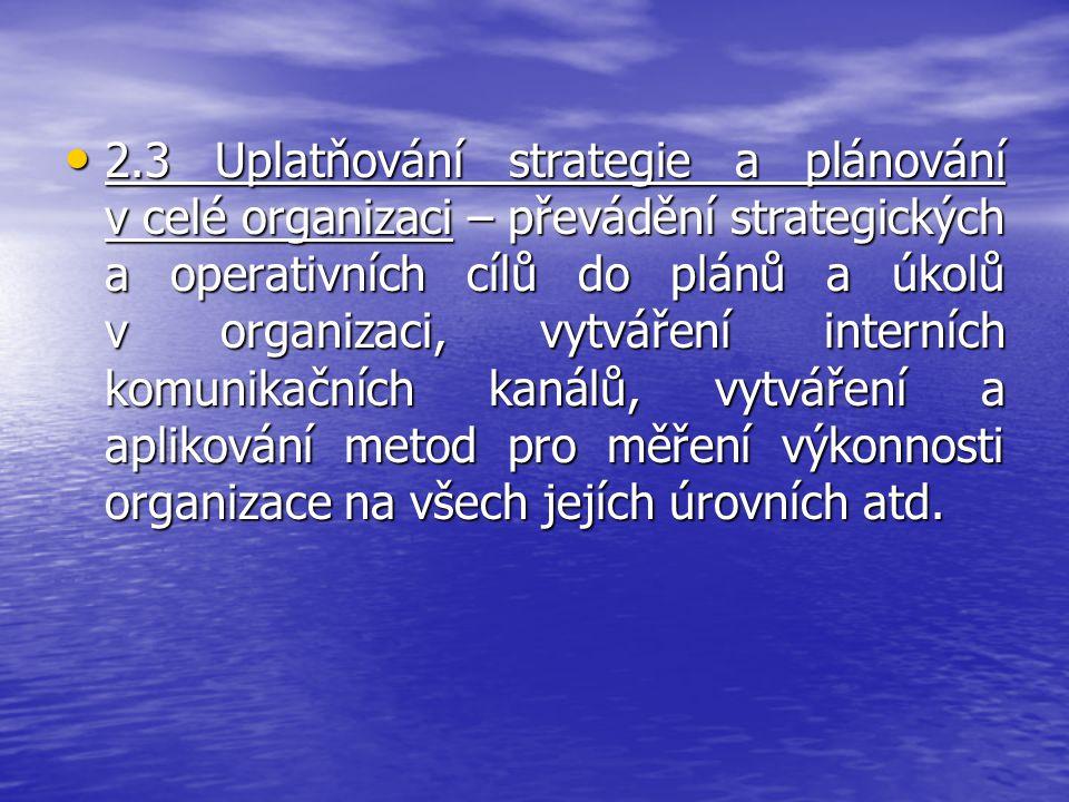 2.3 Uplatňování strategie a plánování v celé organizaci – převádění strategických a operativních cílů do plánů a úkolů v organizaci, vytváření interních komunikačních kanálů, vytváření a aplikování metod pro měření výkonnosti organizace na všech jejích úrovních atd.