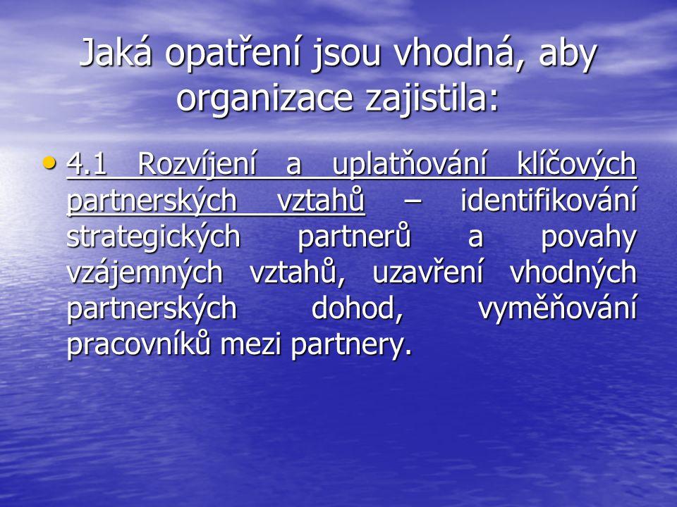 Jaká opatření jsou vhodná, aby organizace zajistila: