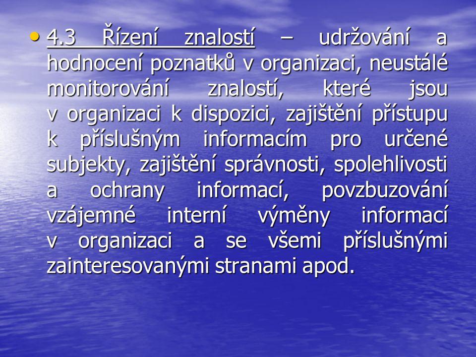 4.3 Řízení znalostí – udržování a hodnocení poznatků v organizaci, neustálé monitorování znalostí, které jsou v organizaci k dispozici, zajištění přístupu k příslušným informacím pro určené subjekty, zajištění správnosti, spolehlivosti a ochrany informací, povzbuzování vzájemné interní výměny informací v organizaci a se všemi příslušnými zainteresovanými stranami apod.