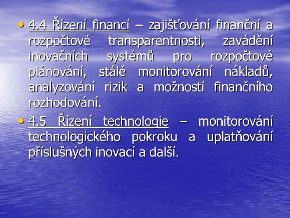 4.4 Řízení financí – zajišťování finanční a rozpočtové transparentnosti, zavádění inovačních systémů pro rozpočtové plánování, stálé monitorování nákladů, analyzování rizik a možností finančního rozhodování.