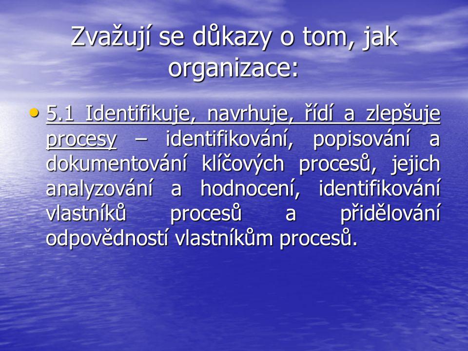 Zvažují se důkazy o tom, jak organizace: