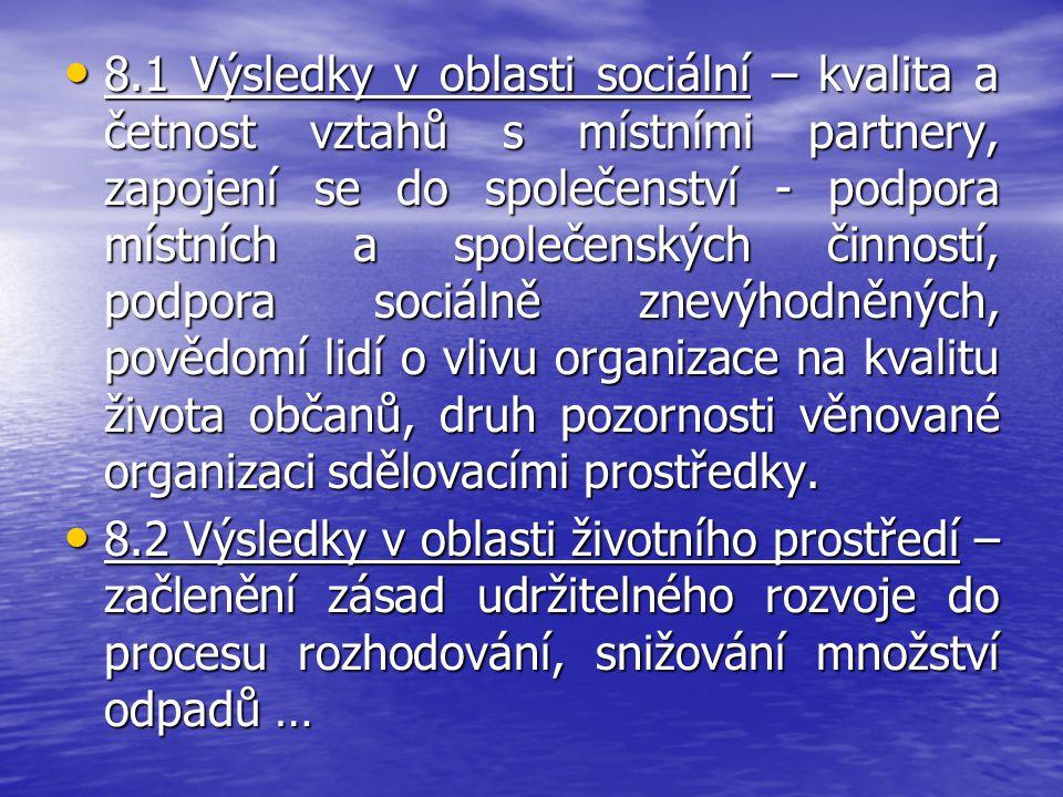 8.1 Výsledky v oblasti sociální – kvalita a četnost vztahů s místními partnery, zapojení se do společenství - podpora místních a společenských činností, podpora sociálně znevýhodněných, povědomí lidí o vlivu organizace na kvalitu života občanů, druh pozornosti věnované organizaci sdělovacími prostředky.