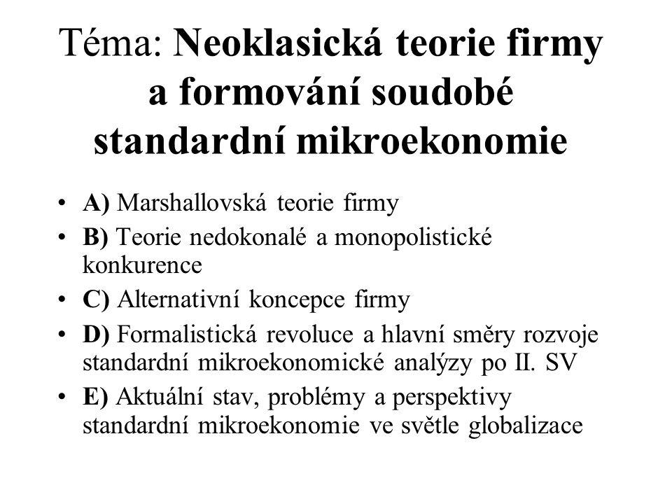 Téma: Neoklasická teorie firmy a formování soudobé standardní mikroekonomie