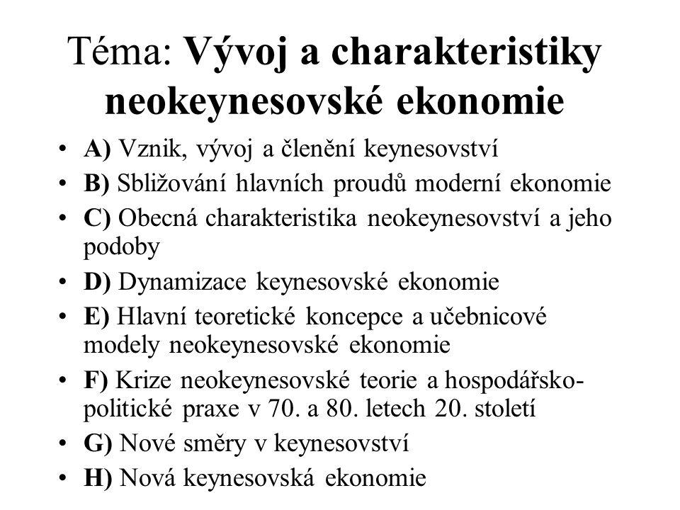 Téma: Vývoj a charakteristiky neokeynesovské ekonomie
